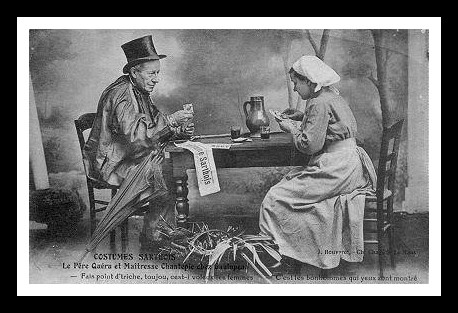 Au quotidien - Art de vivre et costumes - Costumes Sarthois - Le Père Quéru et Maîtresse Chantepie chez Gaulupeau