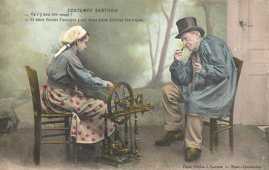Au quotidien - Art de vivre et costumes - Costumes Sarthois - Va t'y ben ton rouet