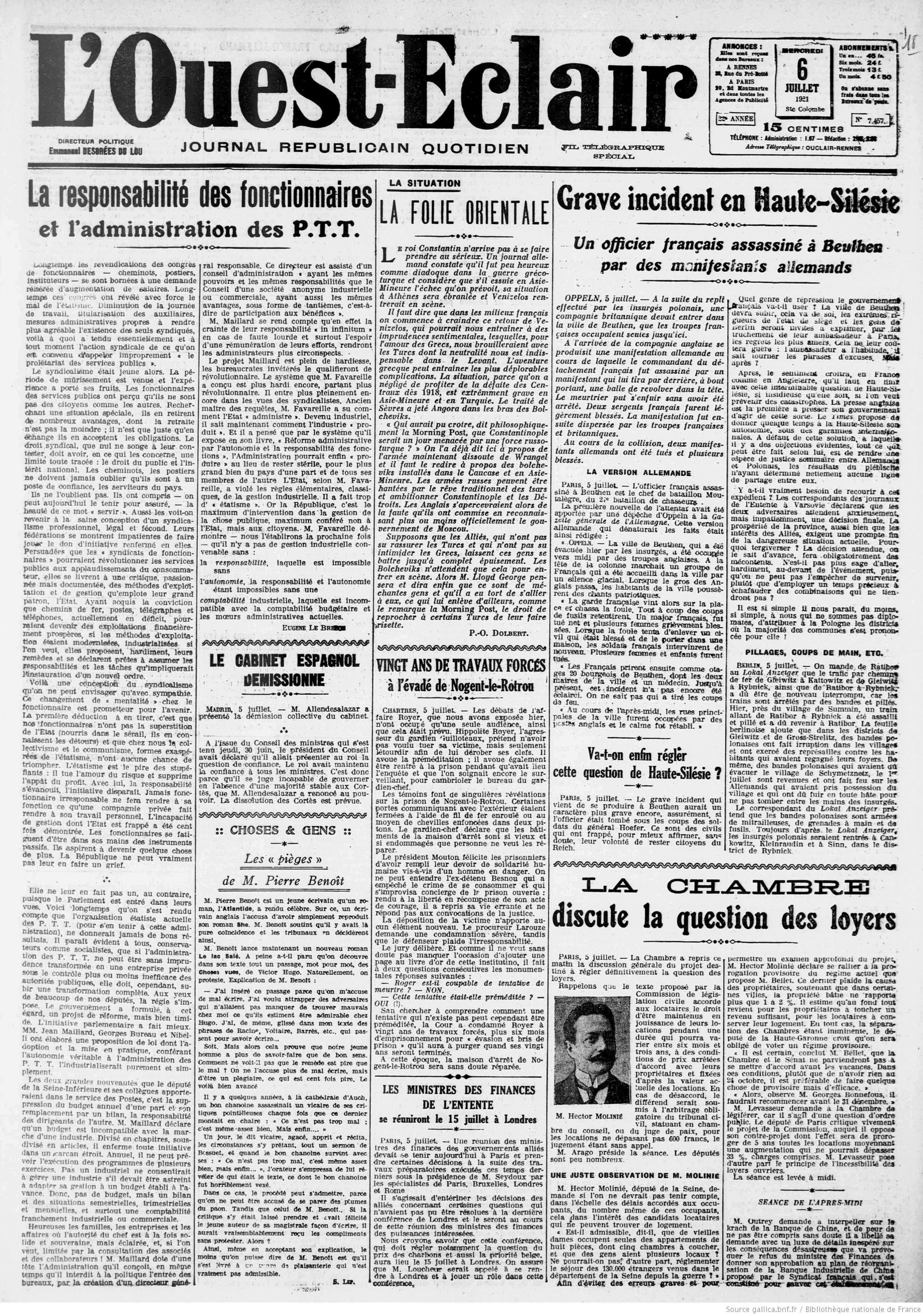 Articles de presse - L'Ouest-Eclair du 6 Juillet 1921 - La une