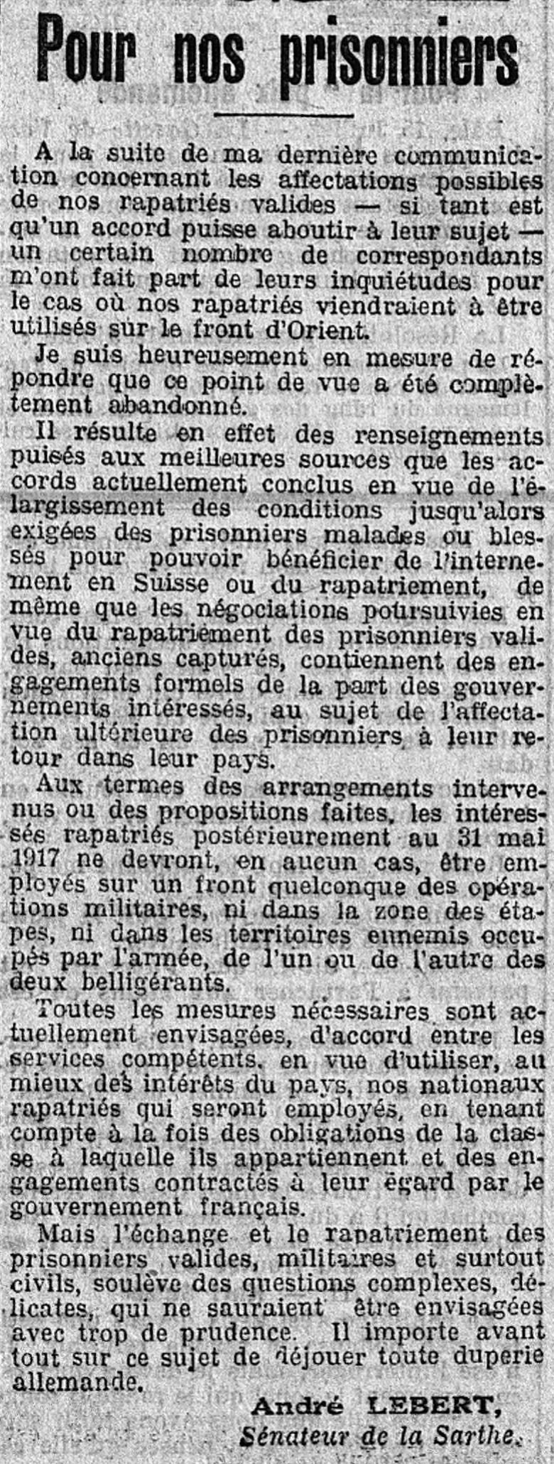 Articles de presse - Le Petit Journal du 16 Juillet 1917 - Pour nos prisonniers
