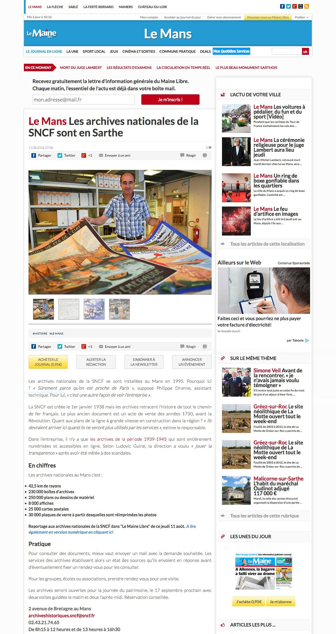 Articles de presse - Maine Libre Août 2016 (version web)