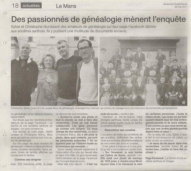 Articles de presse - Ouest France Mai 2017 (version papier)