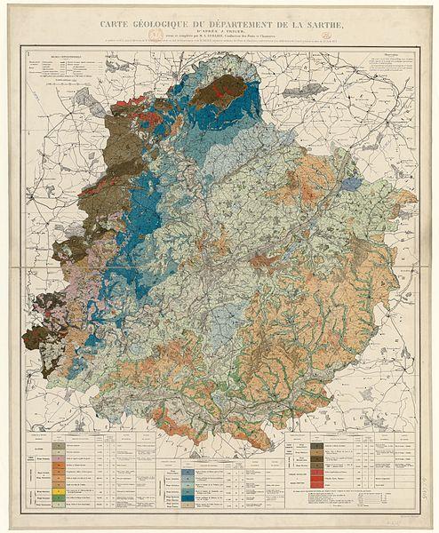 Cartes et plans - Carte géologique du département de la Sarthe - 1874 (Source Internet, Wikimedia Commons)