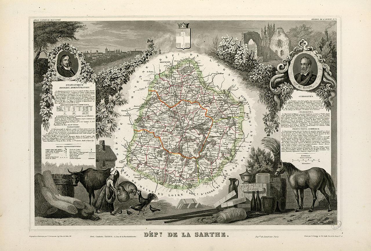 Cartes et plans - Département de la Sarthe - Vue 01 (Source Internet, Wikimedia Commons)