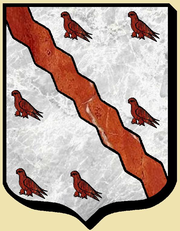 Armoiries et Blasons - Clinchamp de Radray - D'argent à une bande vivrée de gueules, accompagnée de six merlet - Vue 01 (Bruno Simon)