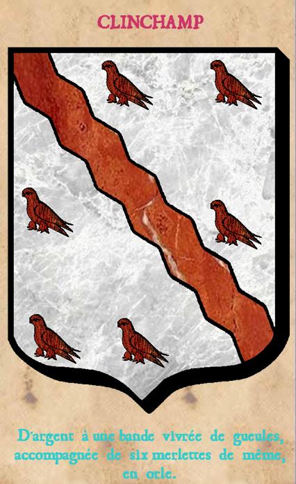 Armoiries et Blasons - Clinchamp de Radray - D'argent à une bande vivrée de gueules, accompagnée de six merlet - Vue 02 (Bruno Simon)