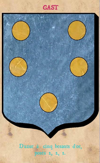 Armoiries et Blasons - Gast - Seigneurs de Lussault, d'Artigny, de Dehault - Marquis de Montgauger - Dehault - Vue 02 (Bruno Simon)