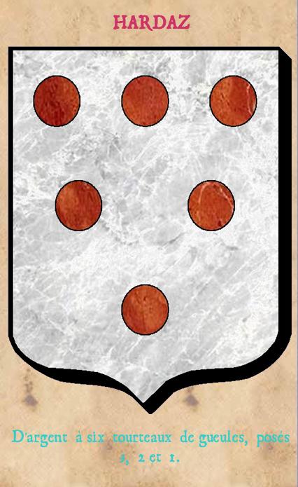 Armoiries et Blasons - Hardaz ou Hardas - Seigneurs de Linthe, de Courtilloles, d'Hauteville, de Houssemaigne, de Fresnay - Saint Rigomer des Bois - Vue 02 (Bruno Simon)