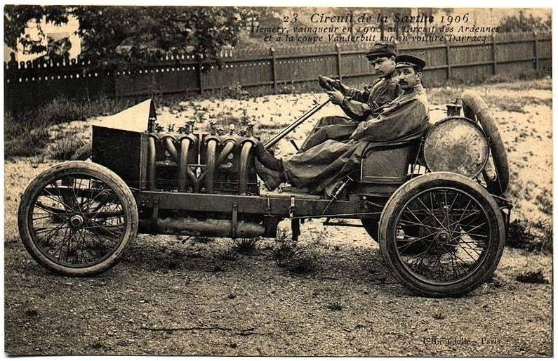 Circuit de la Sarthe 1906 - Hémery, vainqueur en 1905 au Circuit des Ardennes et de la coupe Vanderbilt sur sa voiture Darracq