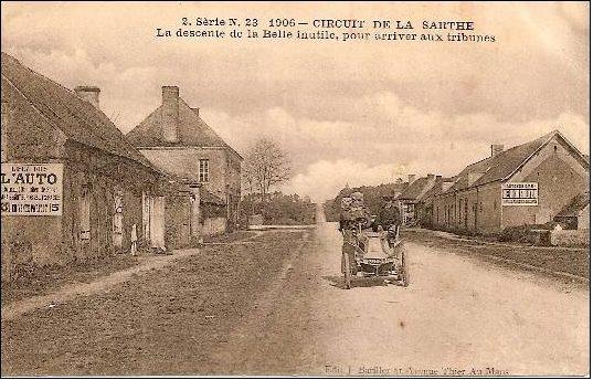 Circuit de la Sarthe 1906 - La descente de la Belle Inutile, pour arriver aux tribunes