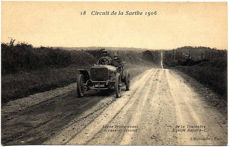 Circuit de la Sarthe 1906 - Ligne droite avant Sceaux sur Huisne
