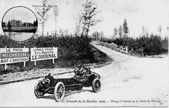 Circuit de la Sarthe 1906 - Virage à l'entrée de la Forêt de Vibraye