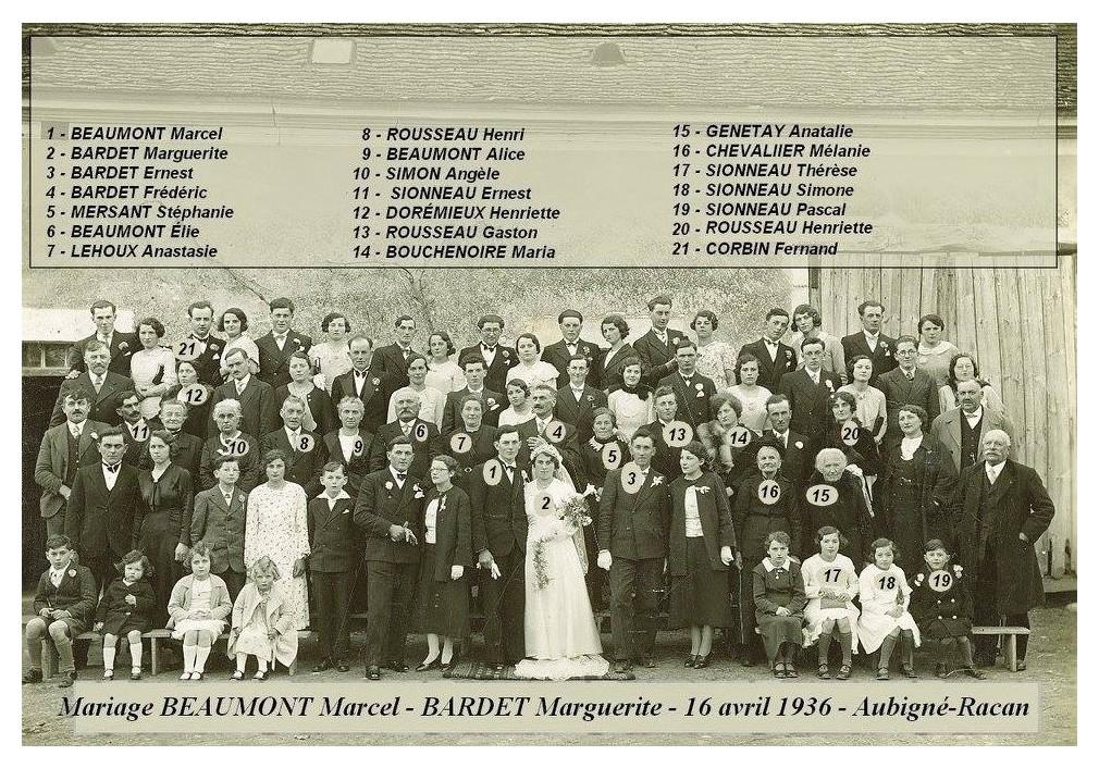 Aubigné Racan - Mariage - BEAUMONT Marcel et BARDET Marguerite - 16 avril 1936