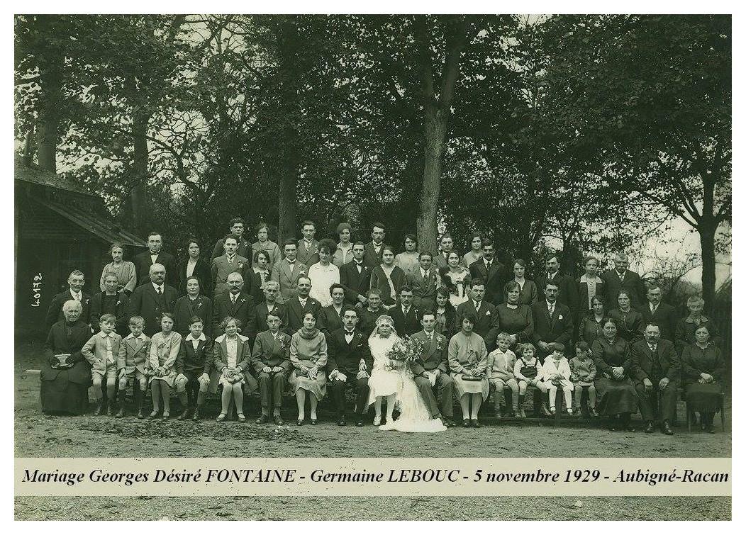 Aubigné Racan - Mariage - FONTAINE Georges, Désiré et LEBOUC Germaine - 5 novembre 1929