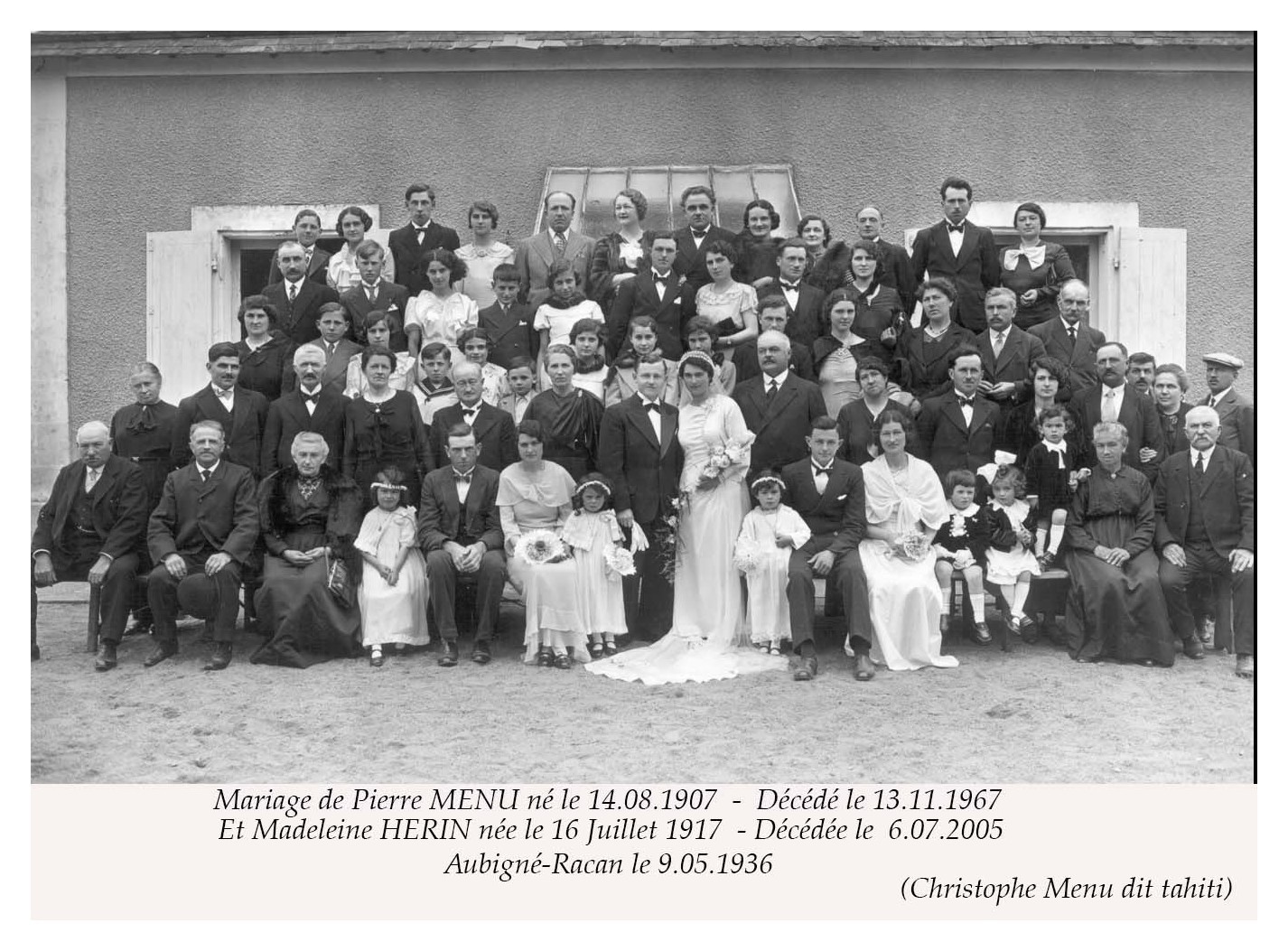 Aubigné Racan - Mariage - MENU Pierre et HERIN Madeleine - 9 mai 1936 (Christophe Menu dit Tahiti)