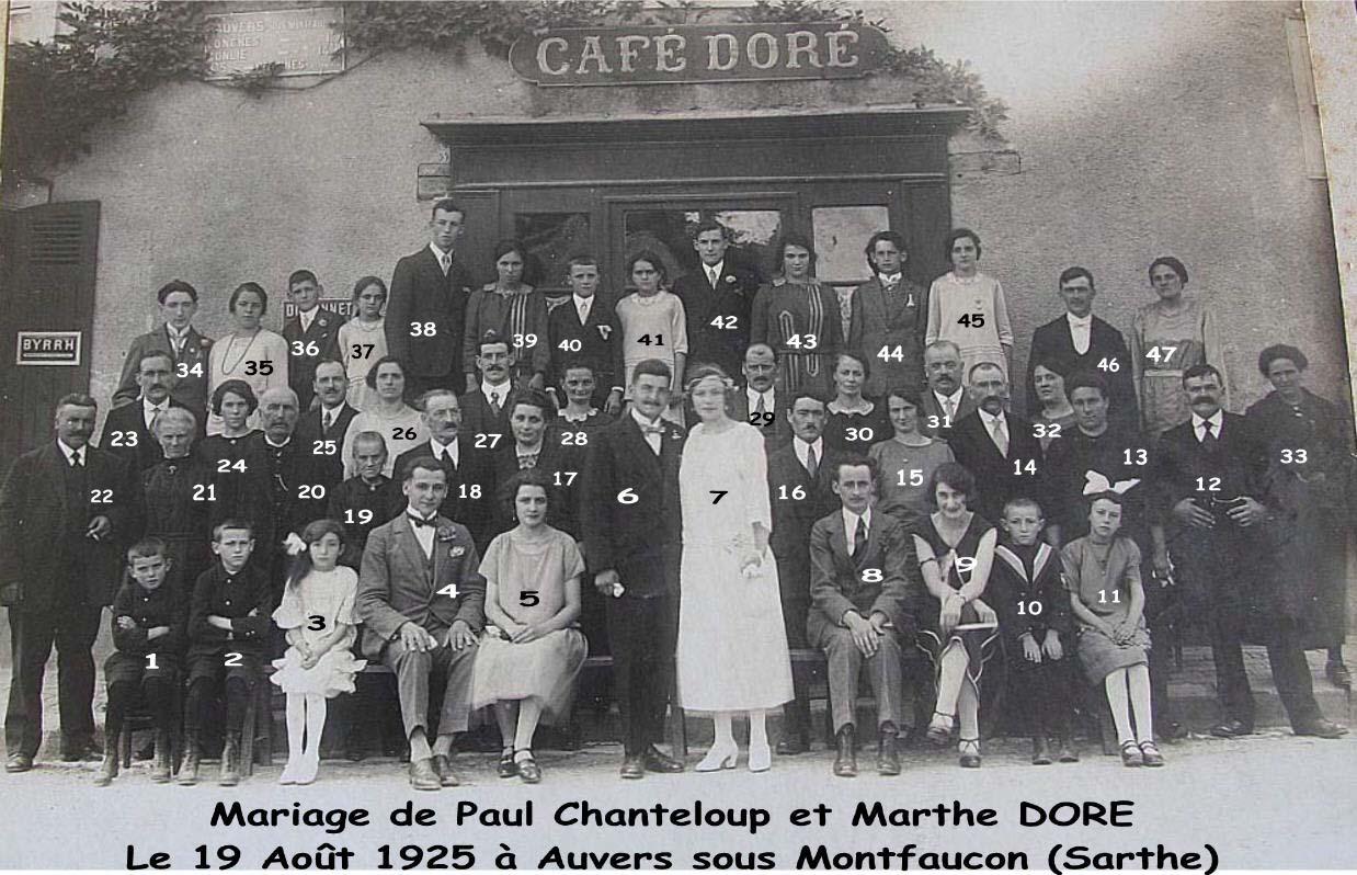 Auvers sous Montfaucon - Mariage - CHANTELOUP Paul et DORE Marthe - 19 Août 1929 - Vue 01 (Sylvie Leveau)