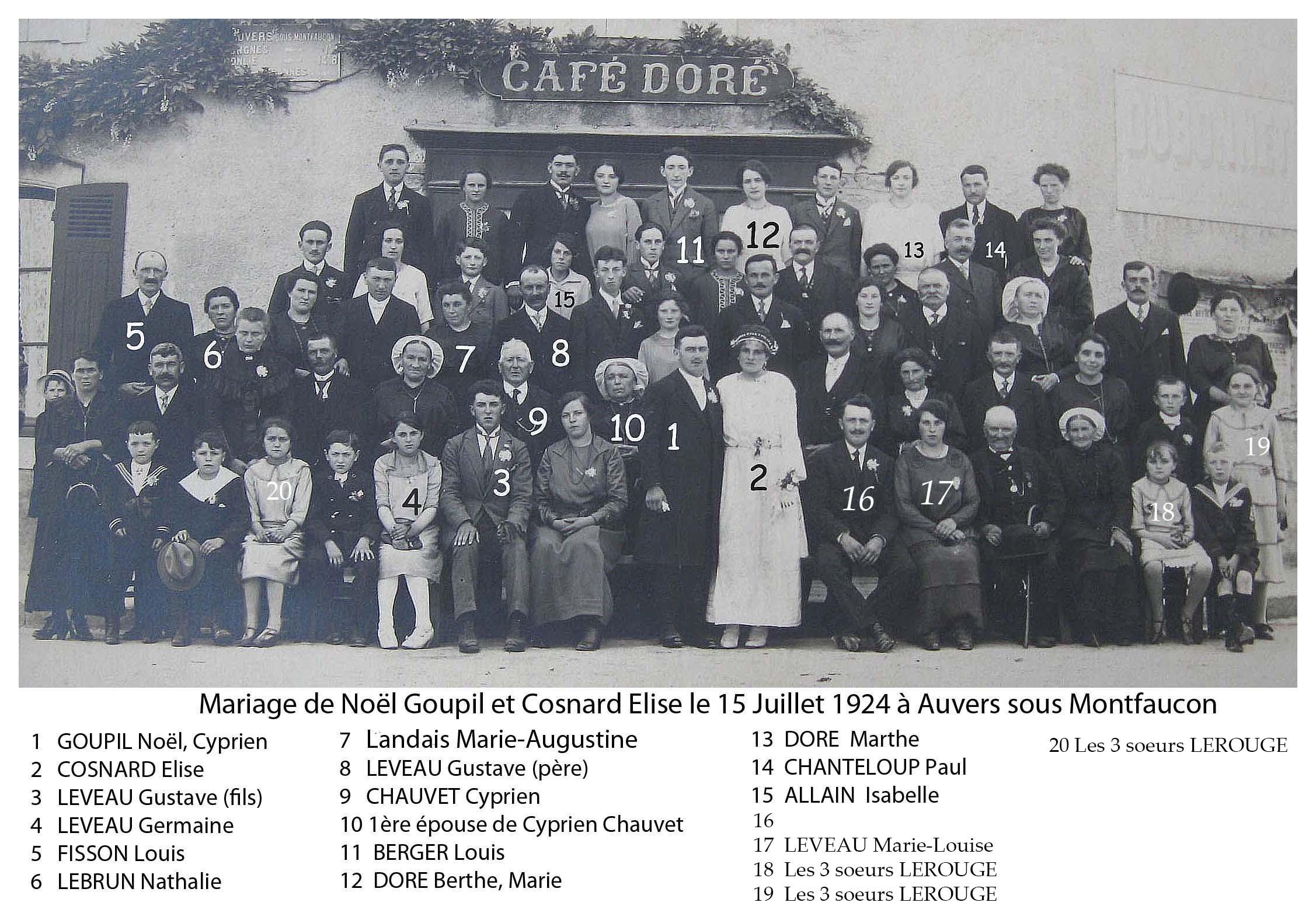 Auvers sous Montfaucon - Mariage - GOUPIL Noël et COSNARD Elise - 15 Juillet 1924 (Sylvie Leveau)