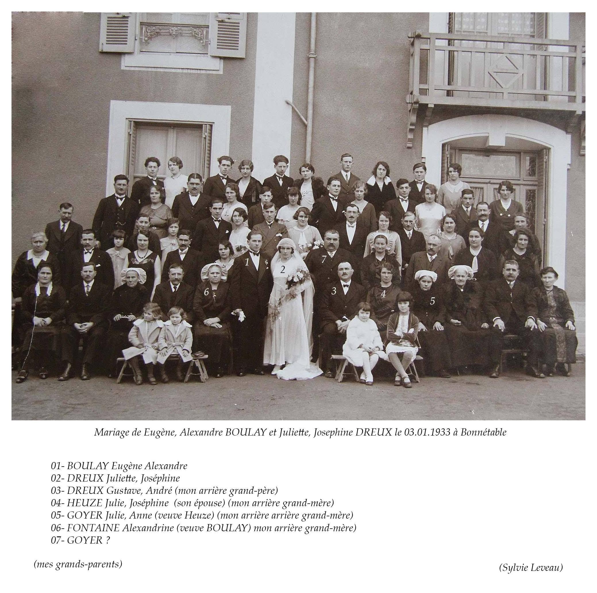 Bonnétable - Mariage - BOULAY Eugène, Alexandre et DREUX Juliette, Joséphine - 3 janvier 1933 (Sylvie Leveau)
