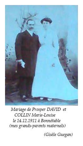 Bonnétable - Mariage - DAVID Prosper et COLLIN Marie-Louise - 14 décembre 1911 - Vue 01 (Gisèle Guegan)