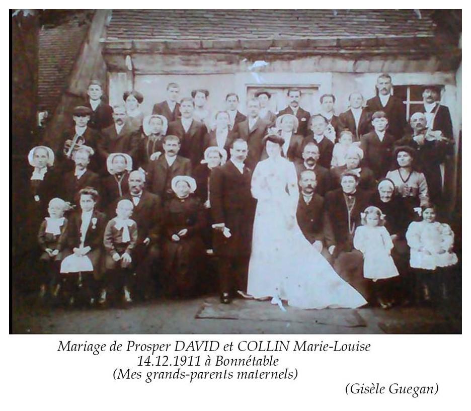 Bonnétable - Mariage - DAVID Prosper et COLLIN Marie-Louise - 14 décembre 1911 - Vue 02 (Gisèle Guegan)