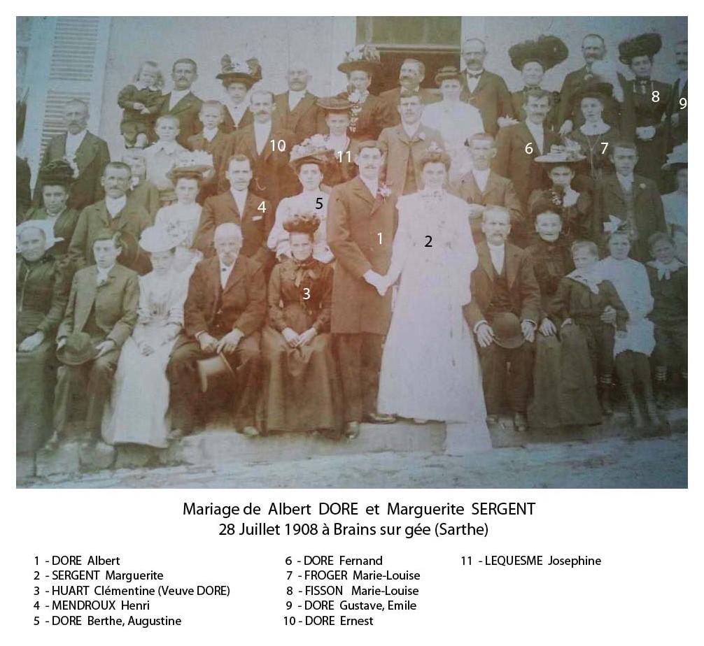 Brains sur Gée - Mariage - DORE Albert et SERGENT Marguerite - 28 juillet 1908 - Vue 01 (Sylvie Leveau)