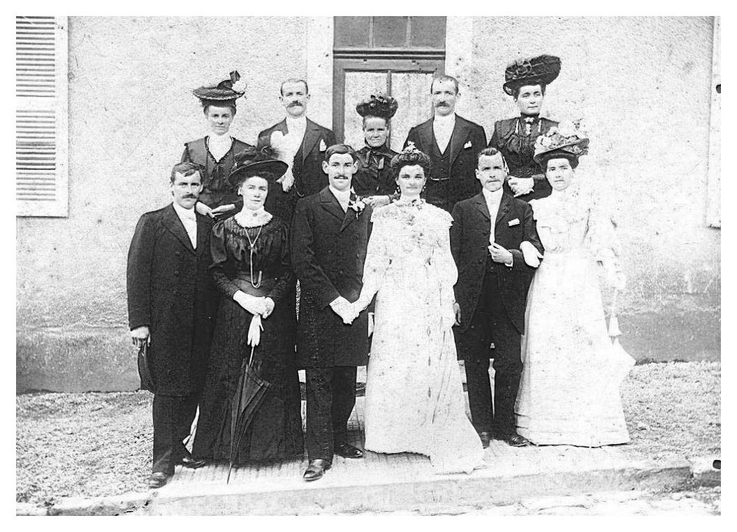 Brains sur Gée - Mariage - DORE Albert et SERGENT Marguerite - 28 juillet 1908 - Vue 02 (Sylvie Leveau)