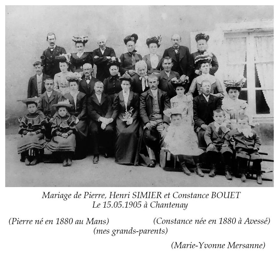 Chantenay - Mariage - SIMIER Pierre, Henri et BOUET Constance - 15 mai 1905 - Vue 02 (Marie-Yvonne Mersanne)