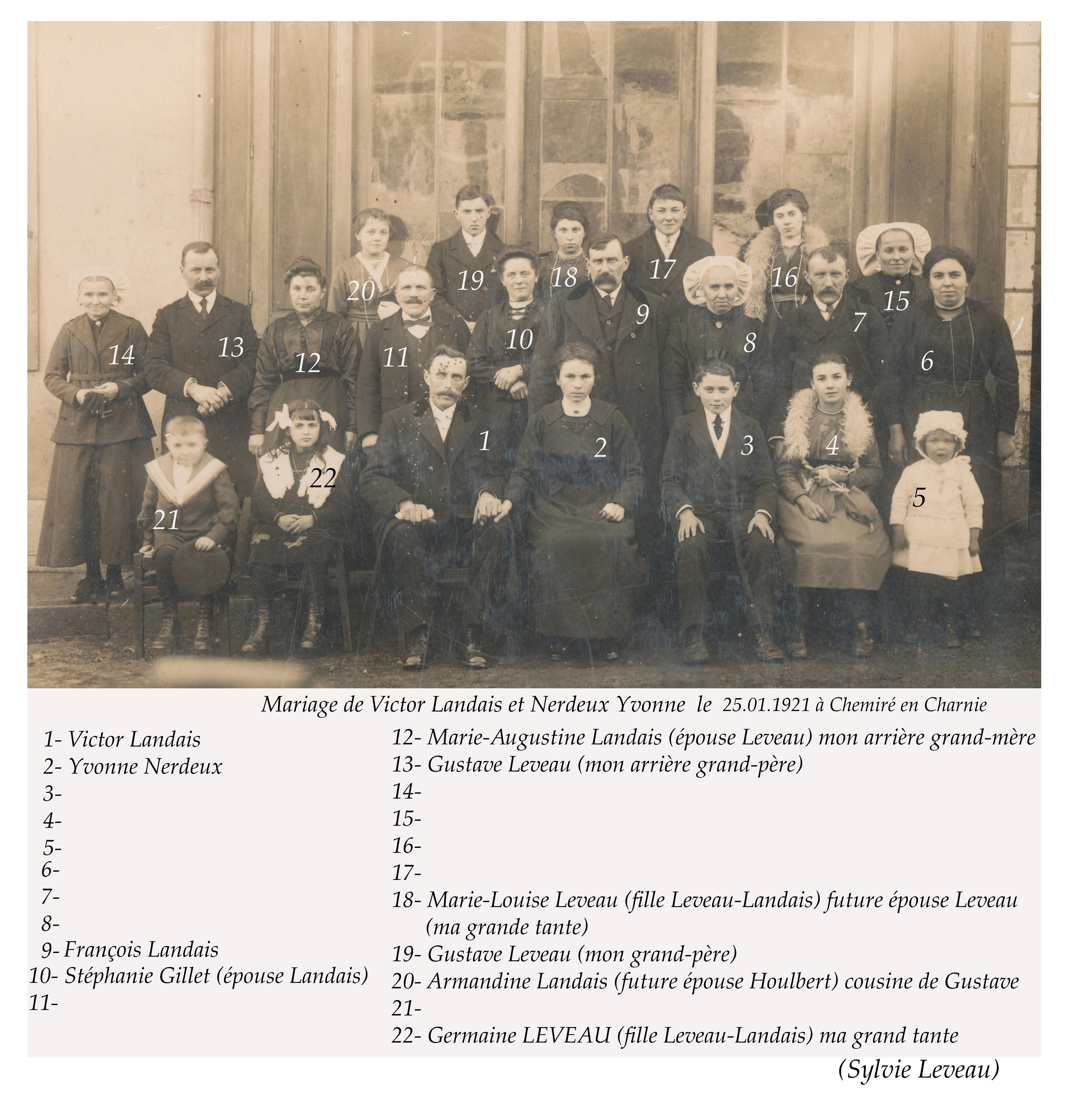 Chemiré en Charnie - Mariage - LANDAIS Victor et NERDEUX Yvonne - 25 janvier 1921 - Vue 02 (Sylvie Leveau)