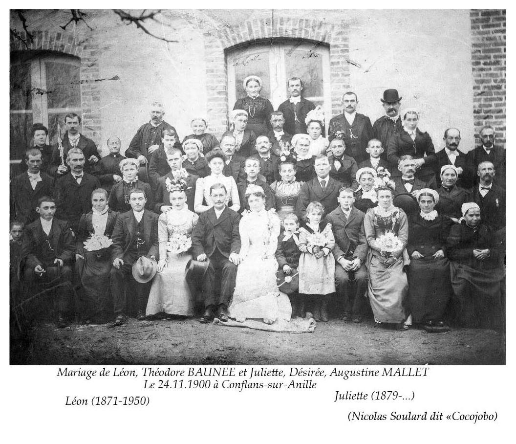 Conflans sur Anille - Mariage - BAUNEE Théodore et MALLET Juliette, Désirée, Augustine - 24 novembre 1900 (Nicolas Soulard dit Cocojobo)