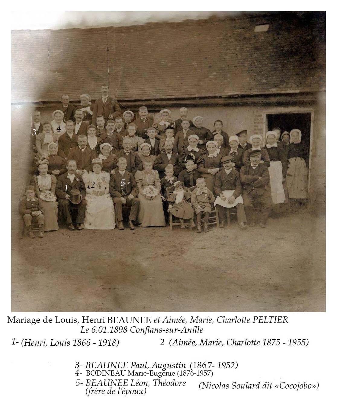 Conflans sur Anille - Mariage - BEAUNEE Louis, Henri et PELTIER Aimée, Marie, Charlotte - 6 janvier 1898 (Nicolas Soulard dit Cocojobo)