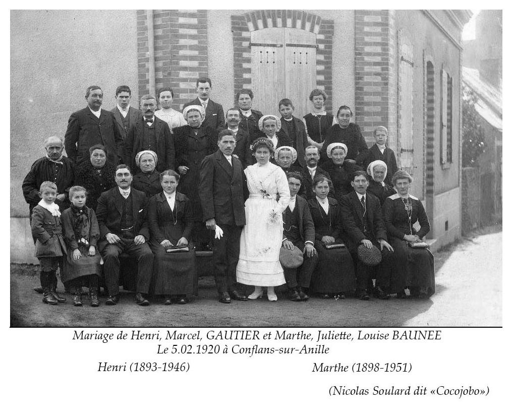 Conflans sur Anille - Mariage - GAUTIER Henri, Marcel et BAUNEE Marthe, Juliette, Louise - 5 février 1920 (Nicolas Soulard dit Cocojobo)