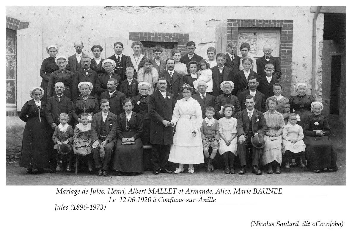 Conflans sur Anille - Mariage - MALLET Jules, Henri, Albert et BAUNEE Armande, Alice, Marie - 12 juin 1920 (Nicolas Soulard dit Cocojobo)