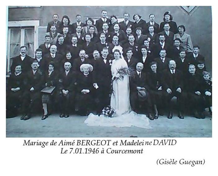 Courcemont - Mariage - BERGEOT Aimé et DAVID Madeleine - 7 janvier 1946 - Vue 02 (Gisèle Guegan)