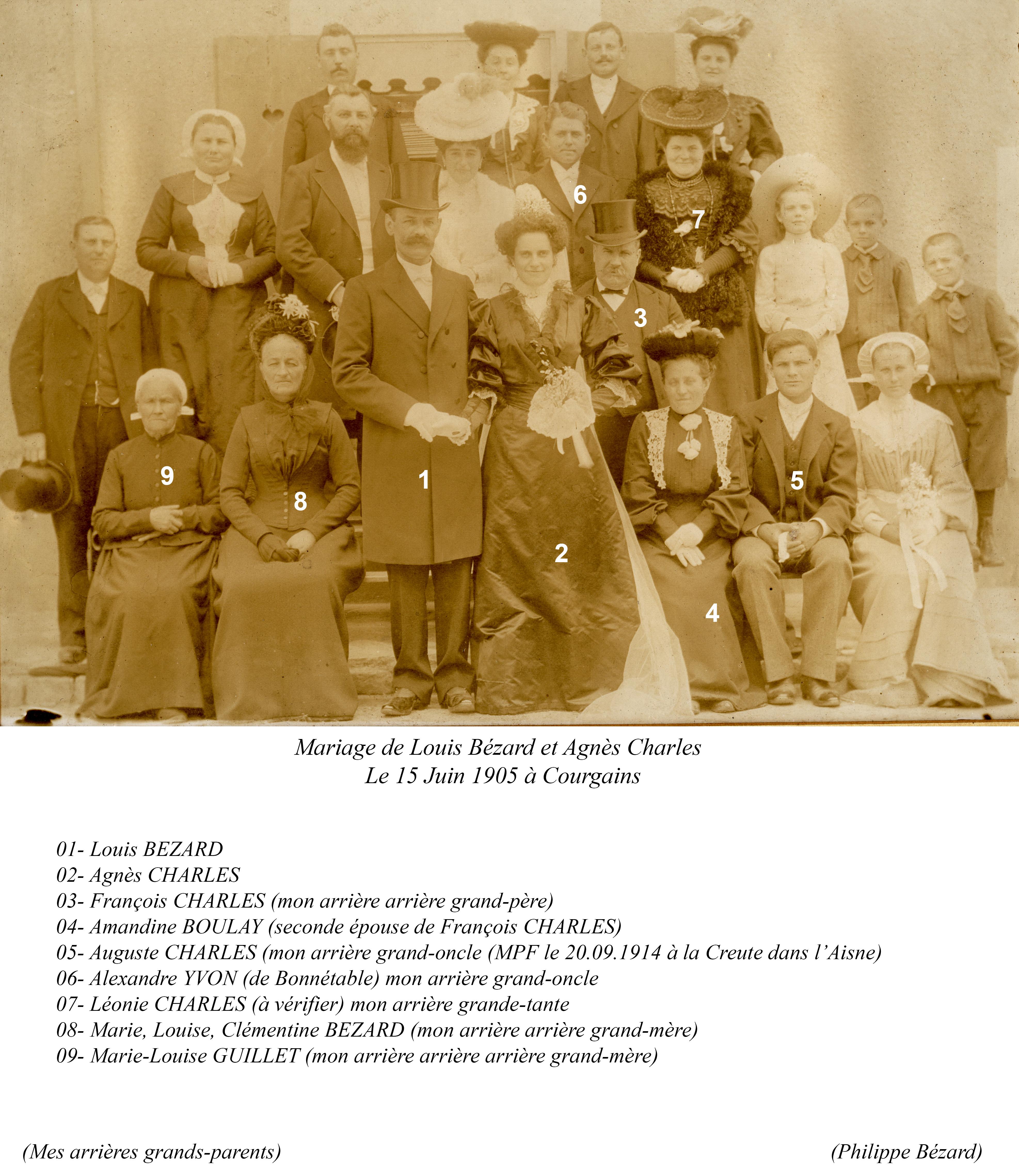 Courgains - BEZARD Louis et CHARLES Agnès 15 Juin 1905  Vue 02 Philippe Bezard