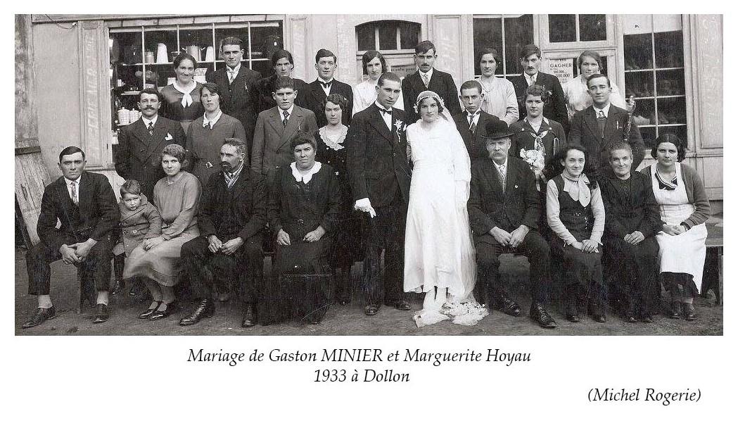 Dollon - Mariage - MINIER Gaston et HOYAU Marguerite - 1933 (Michel Rogerie)