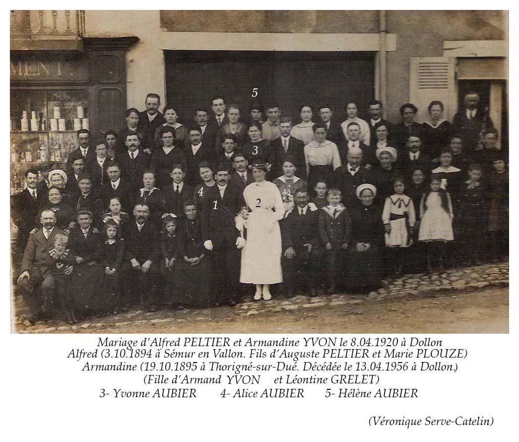 Dollon - Mariage - PELTIER Alfred et YVON Armandine - 8 avril 1920 (Véronique Serve-Catelin)