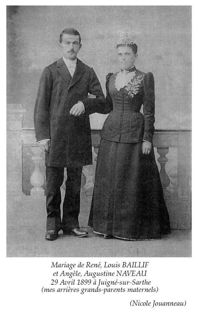 Juigné sur Sarthe - Mariage - BAILLIF René, Louis et NAVEAU Angèle, Augustine - 29 avril 1899 - Vue 02 (Nicole Jouanneau)