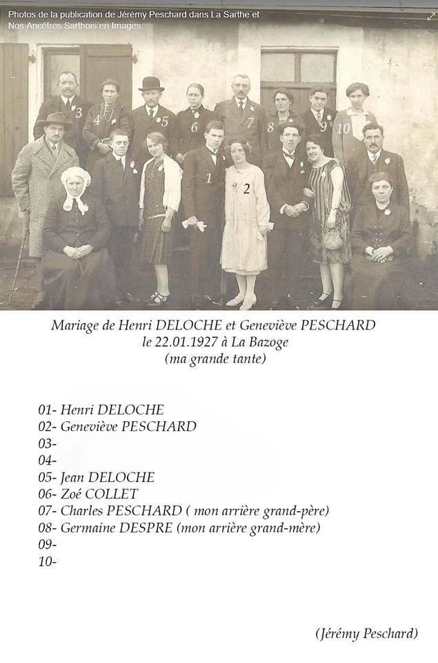 La Bazoge - Mariage - DELOCHE Henri et PESCHARD Geneviève - 22 janvier 1927 - Vue 02 (Jérémy Peschard)
