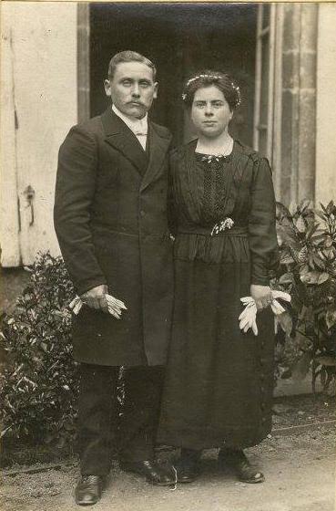 La Suze sur Sarthe - Mariage - LEBRETON Auguste et BROSSARD Henriette - 1919 - Vue 01 (Françoise Lebreton)