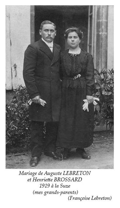 La Suze sur Sarthe - Mariage - LEBRETON Auguste et BROSSARD Henriette - 1919 - Vue 02 (Françoise Lebreton)