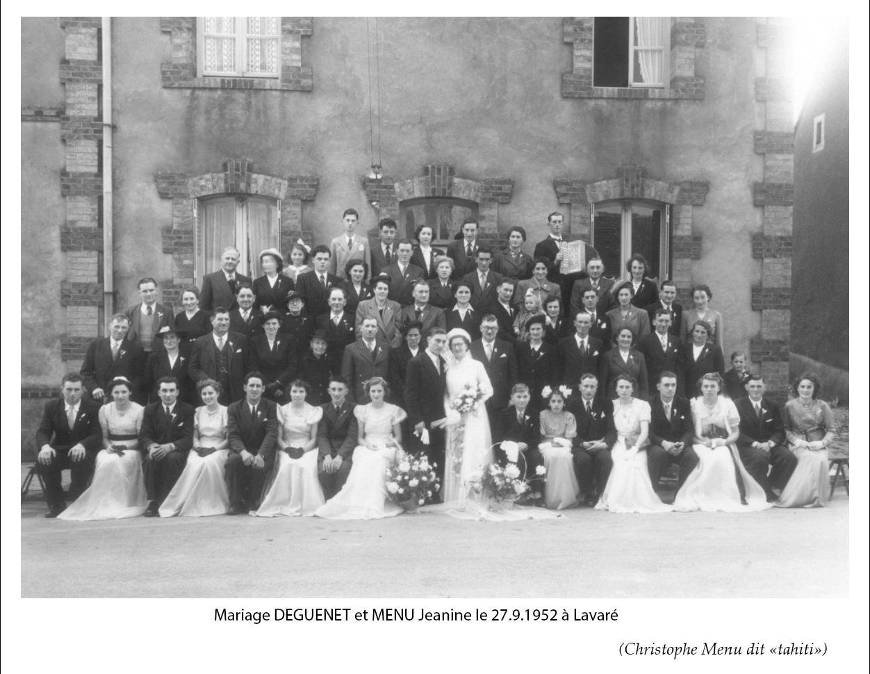 Lavaré - Mariage - DEGUENET et MENU Jeanine - 1952 (Christophe Menu dit Tahiti)