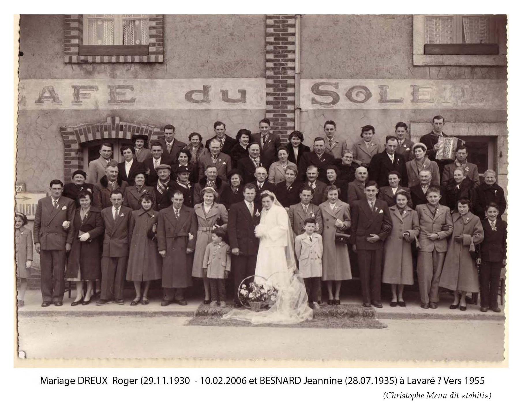 Lavaré - Mariage - DREUX Roger et BESNARD Jeannine - Vers 1955 (Christophe Menu dit Tahiti)