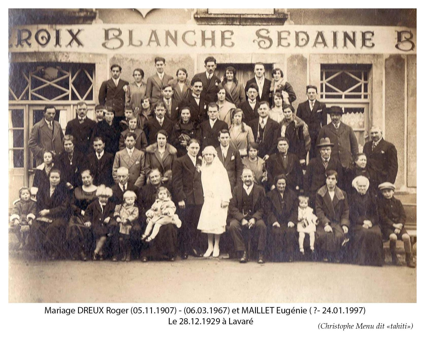 Lavaré - Mariage - DREUX Roger et MAILLET Eugénie - 28 décembre 1929 (Christophe Menu dit Tahiti)