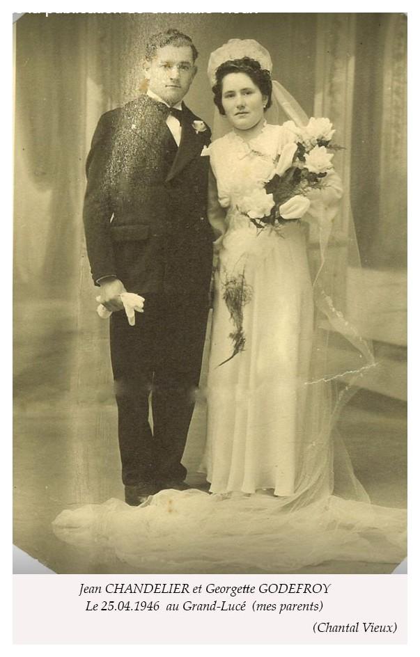 Le Grand Lucé - Mariage - CHANDELIER Jean et GODEFROY Georgette - 25 avril 1946 - Vue 01 (Chantal Vieux)