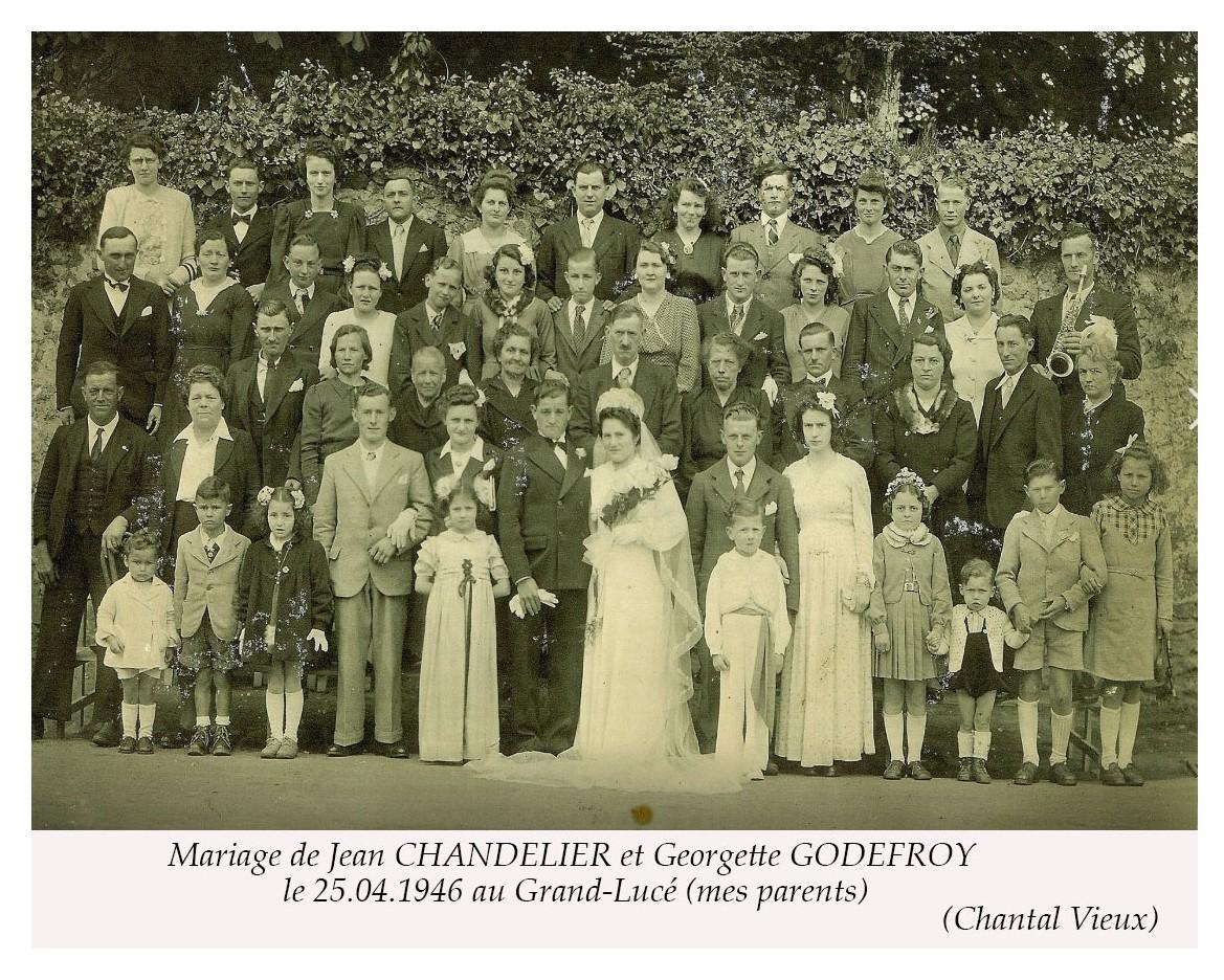 Le Grand Lucé - Mariage - CHANDELIER Jean et GODEFROY Georgette - 25 avril 1946 - Vue 02 (Chantal Vieux)