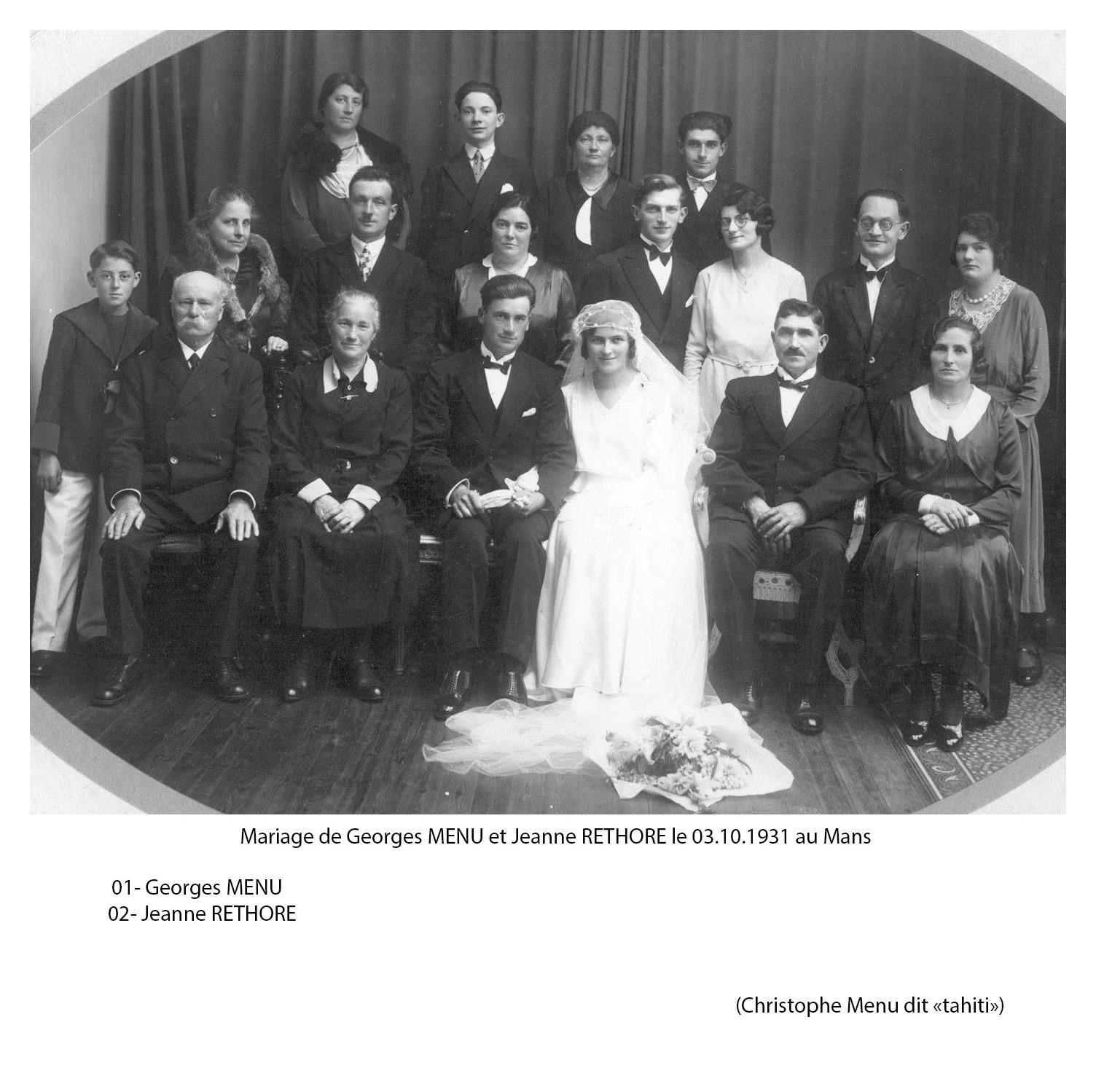 Le Mans - Mariage - MENU Georges et RETHORE Jeanne - 3 octobre 1931 (Christophe Menu dit Tahiti)