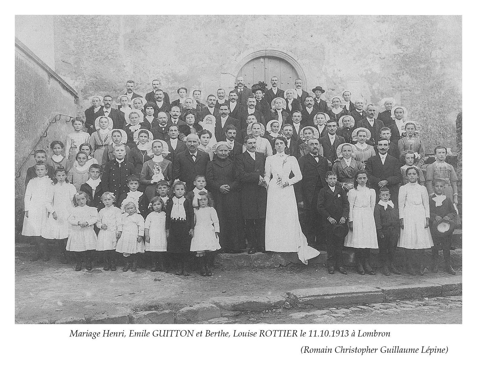Lombron - Mariage - GUITTON Henri, Emile et ROTTIER Berthe, Louise - 11 octobre 1913 (Romain Christopher Guillaume Lépine)