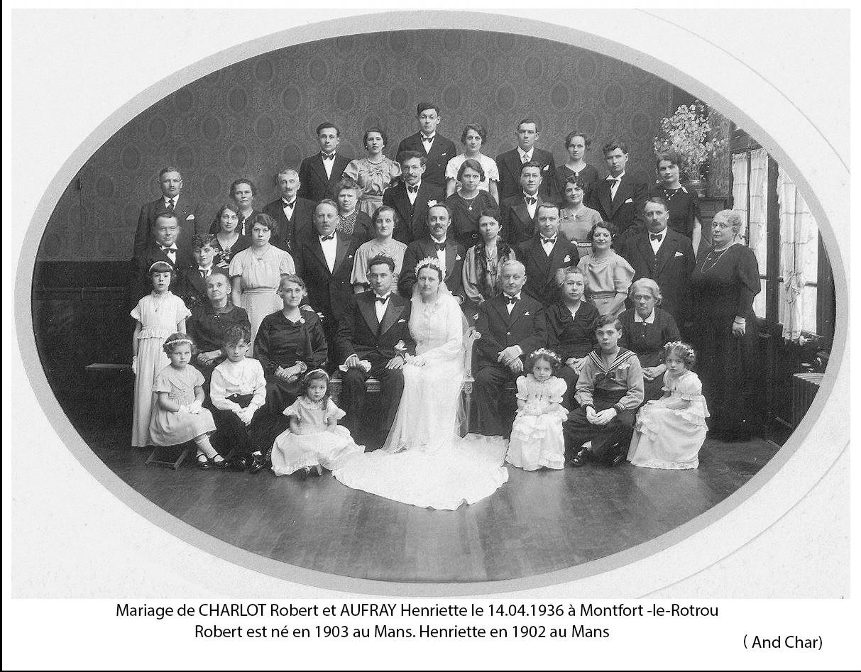 Montfort le Rotrou - Mariage - CHARLOT Robert et AUFRAY Henriette - 14 avril 1936 - Vue 02 (And Char)