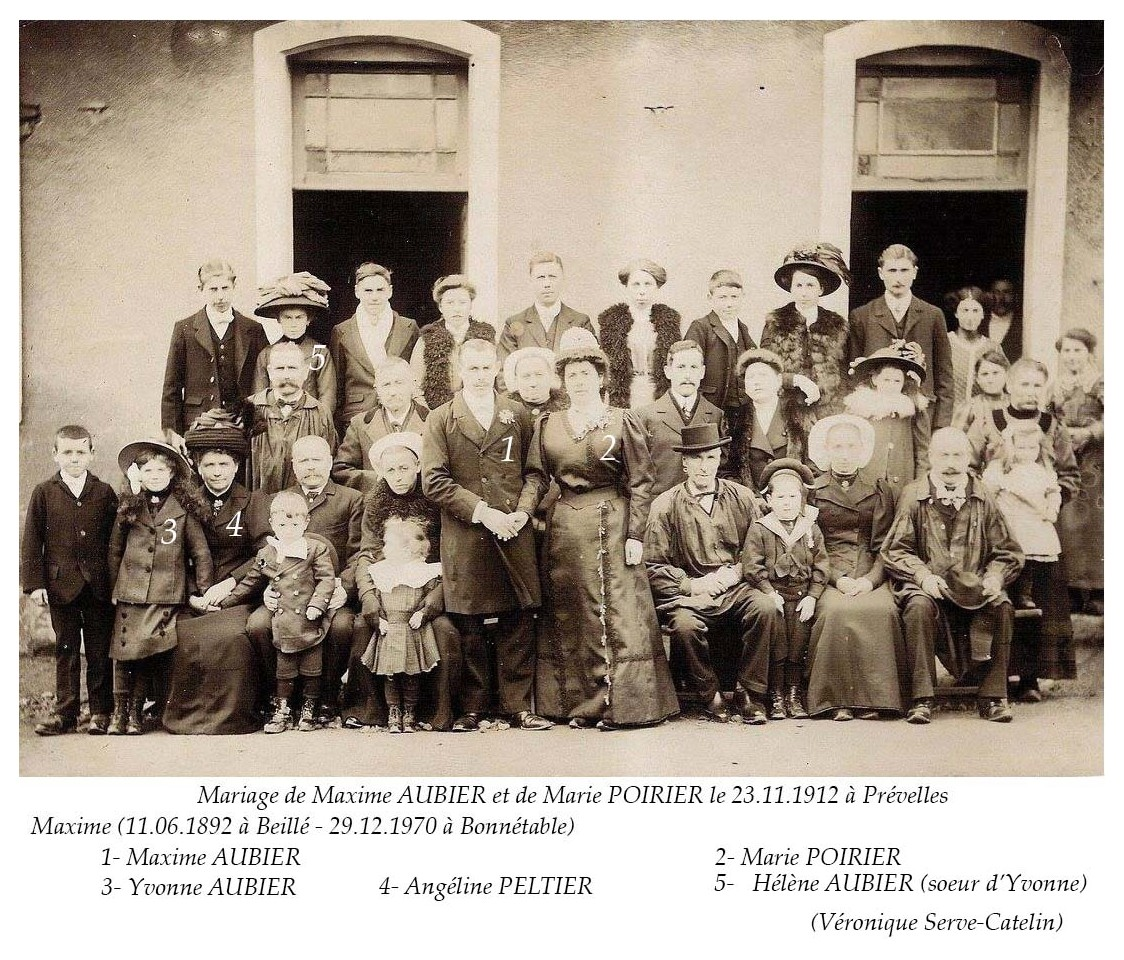Prévelles - AUBIER Maxime et POIRIER Marie 23.11. 1912 Vue 02 (Véronique Serve-Catelin