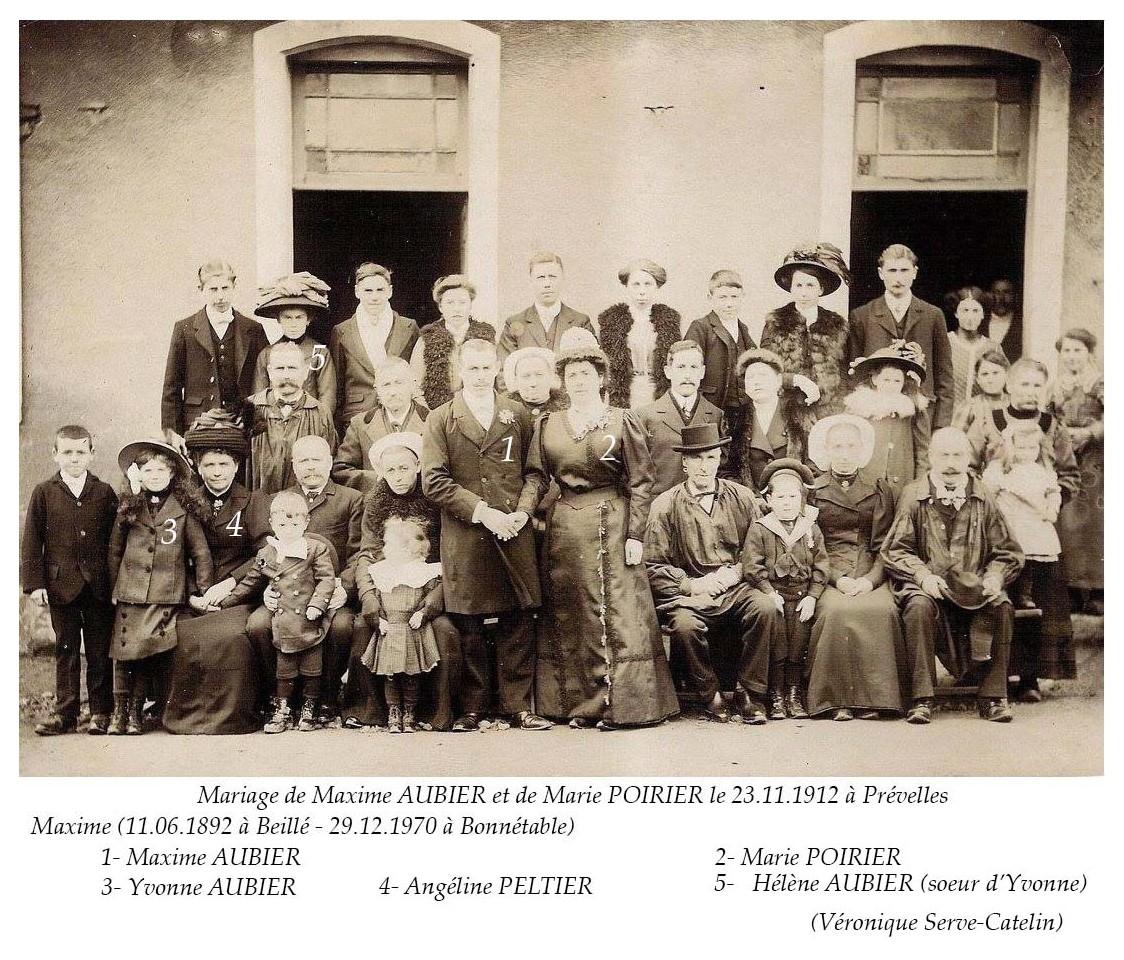 Prévelles - Mariage - AUBIER Maxime et POIRIER Marie - 23 novembre 1912 - Vue 02 (Véronique Serve-Catelin)